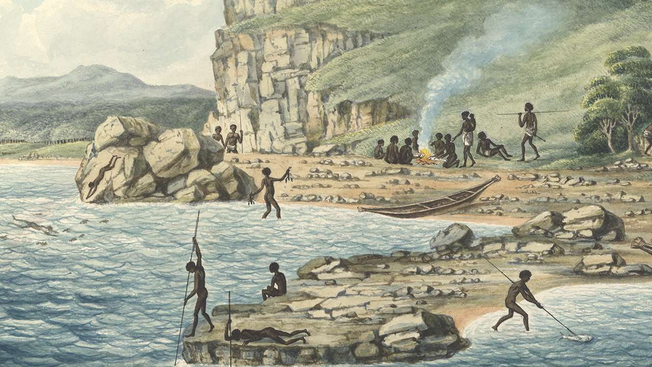 Joseph Lycett, Aborigines spearing fish, others diving for crayfish, a party seated beside a fire cooking fish, c1817, National Library of Australia
