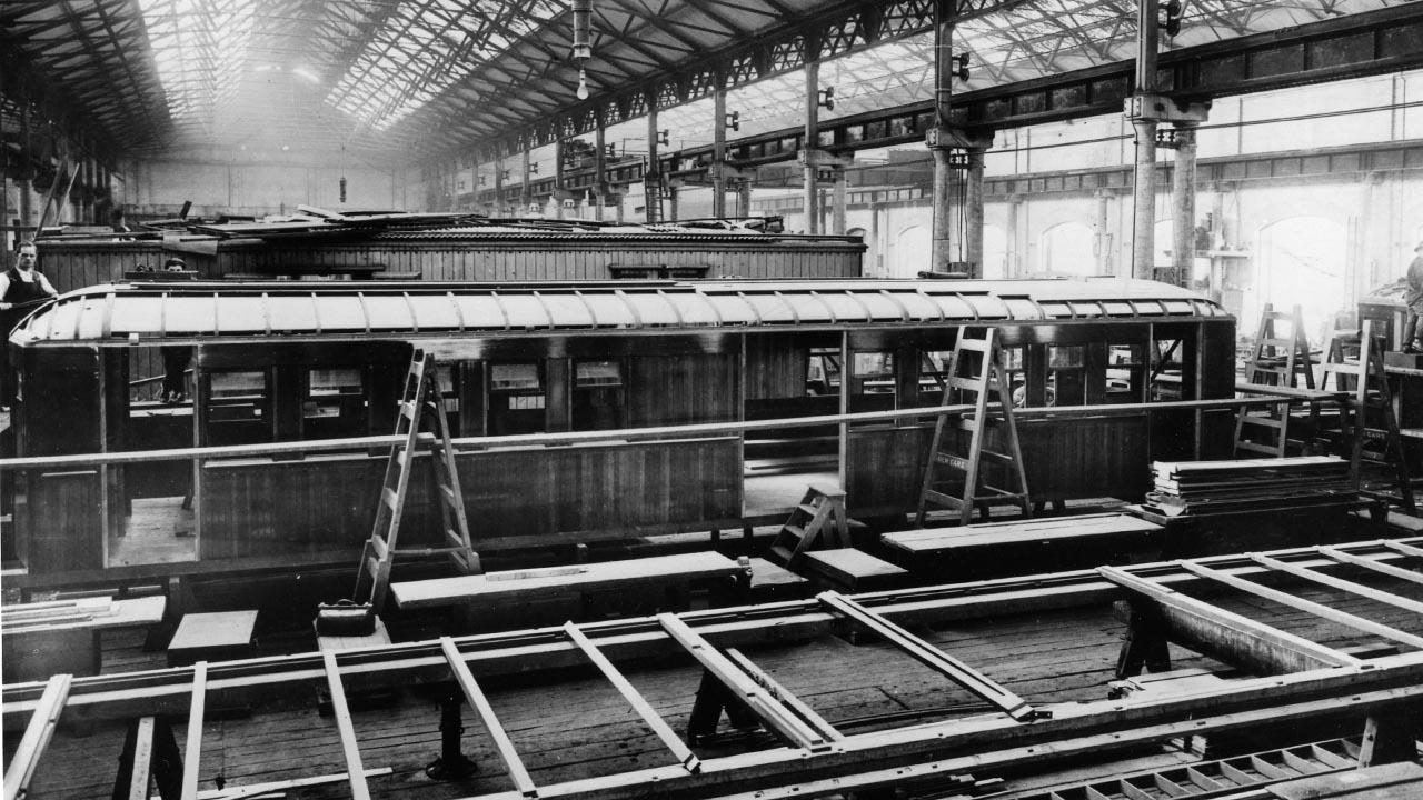 Rail motors under construction Eveleigh Workshops 1926.