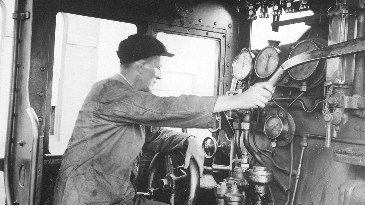 Mr Cornelius Ambrose Cardew at controls of locomotive at Albury 19 February 1934.