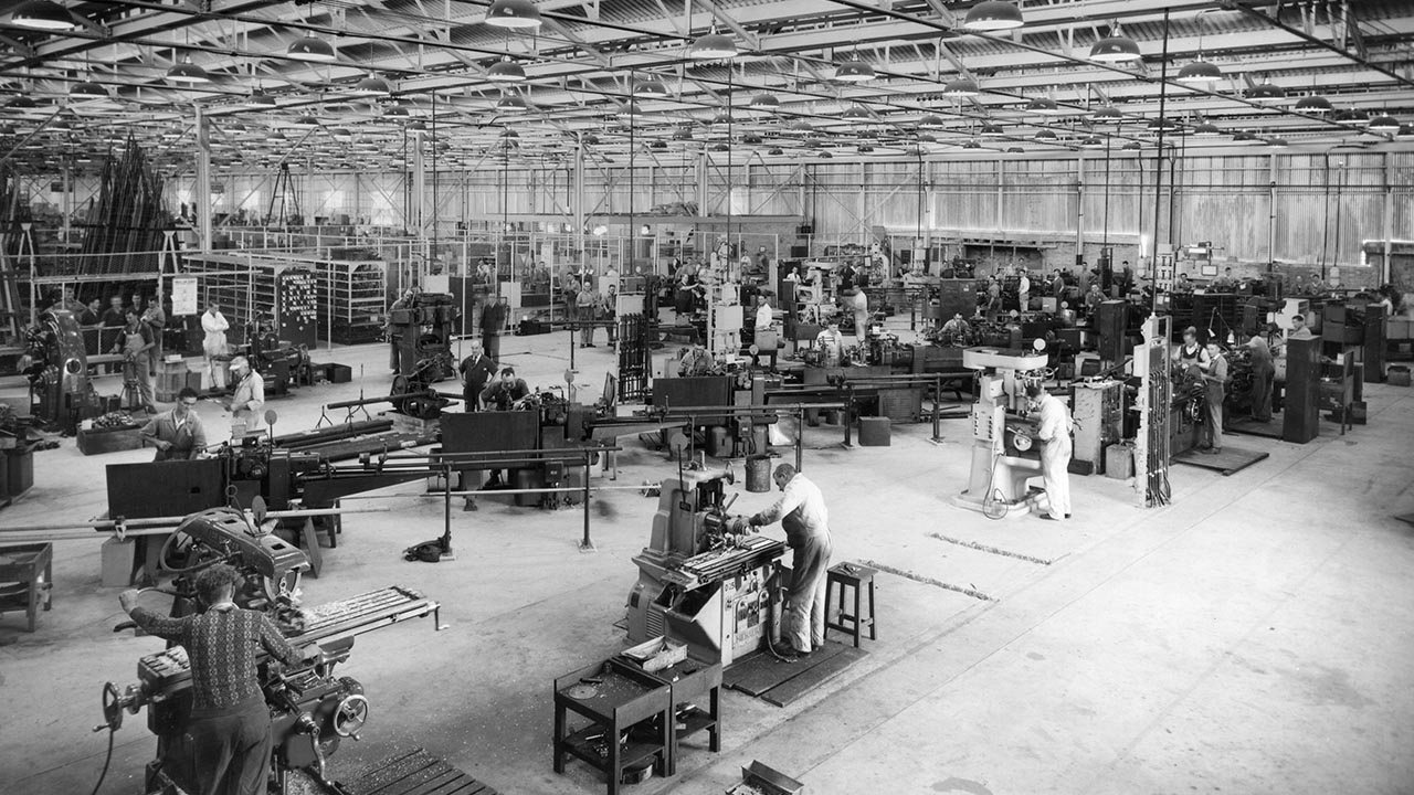 Employees at work in carriage workshops Milton Kent.