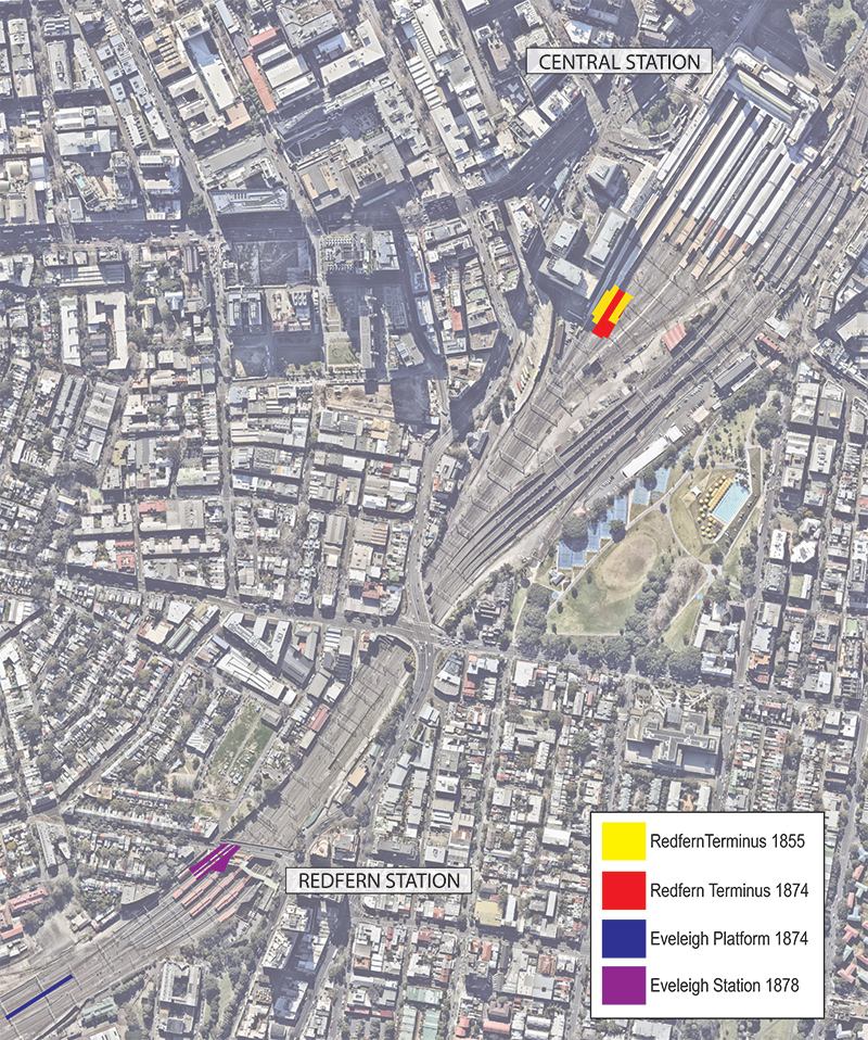 Approximate locations of Redfern Terminus 1855, Redfern Terminus 1874 and Eveleigh