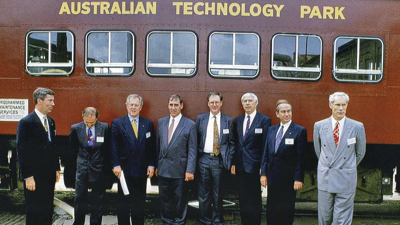 Tom Forgan (right) with members of the first ATP Board, c. 1993