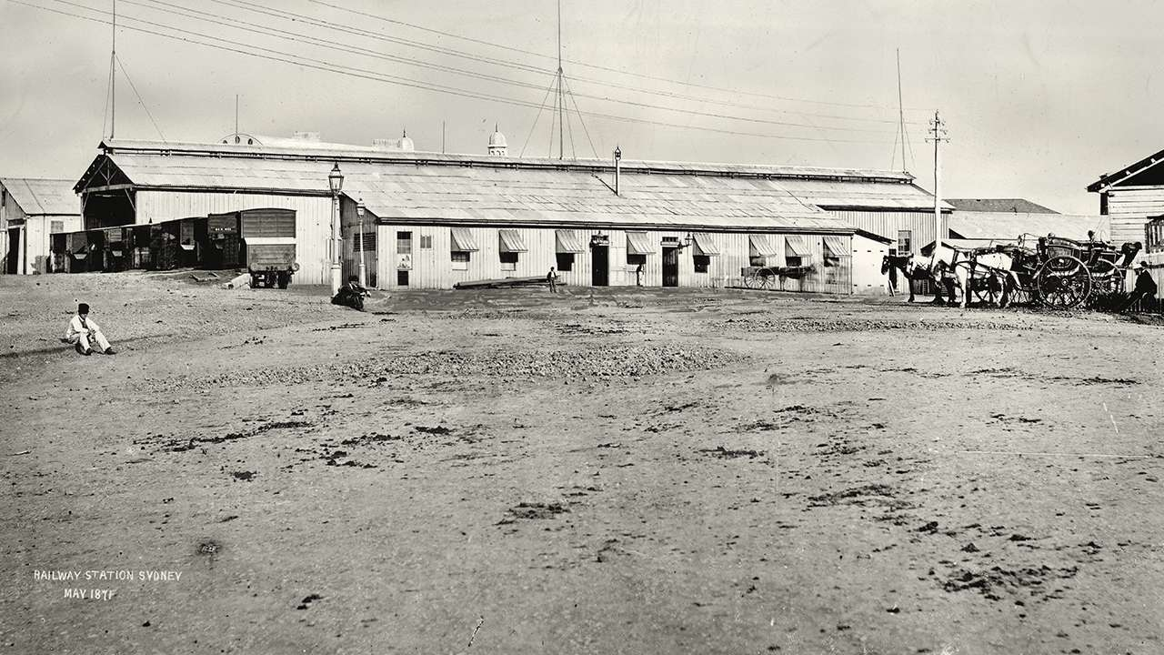"""The first terminal station in Sydney was known as """"Redfern"""" it was opened in 1855, image dated 1871"""