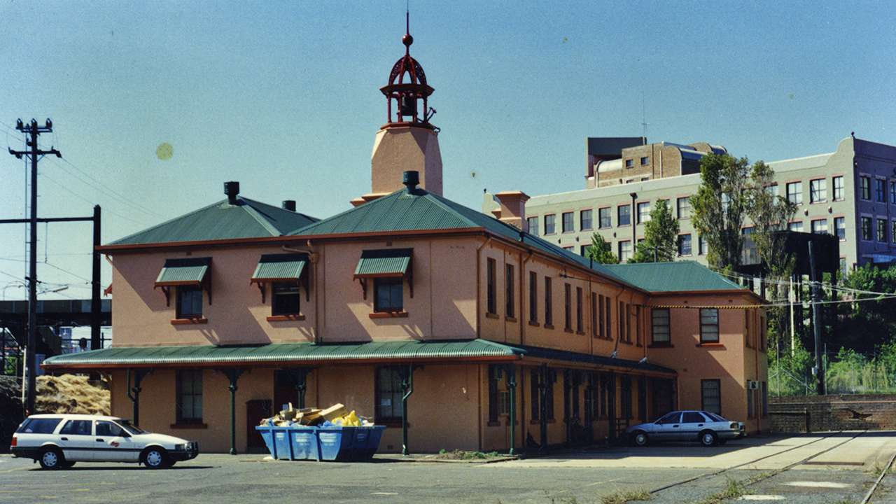 View of the Works Managers office and Bell Tower, circa 1990