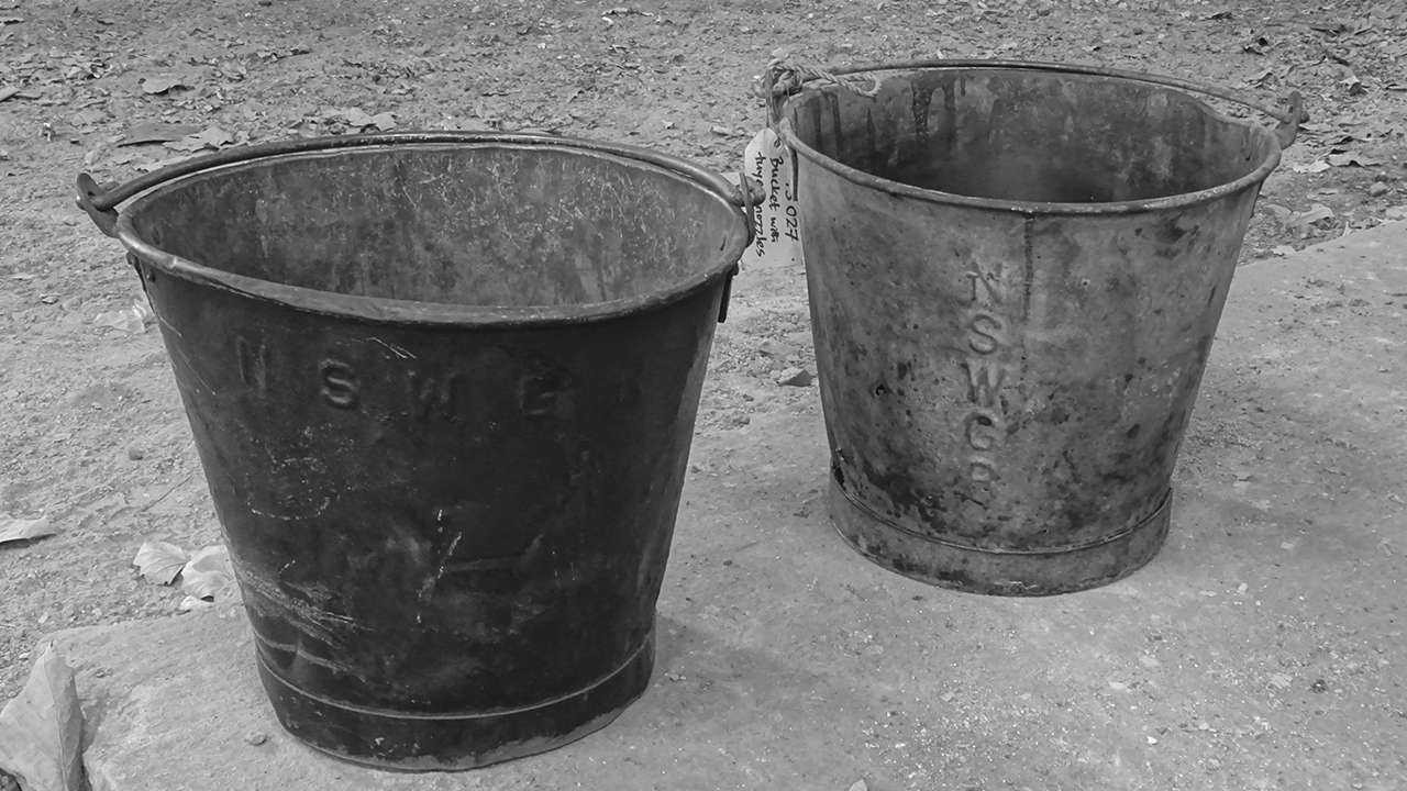 Washing facilities were primitive and each worker had a bucket similar to these ones to wash up before meals and after the day's work