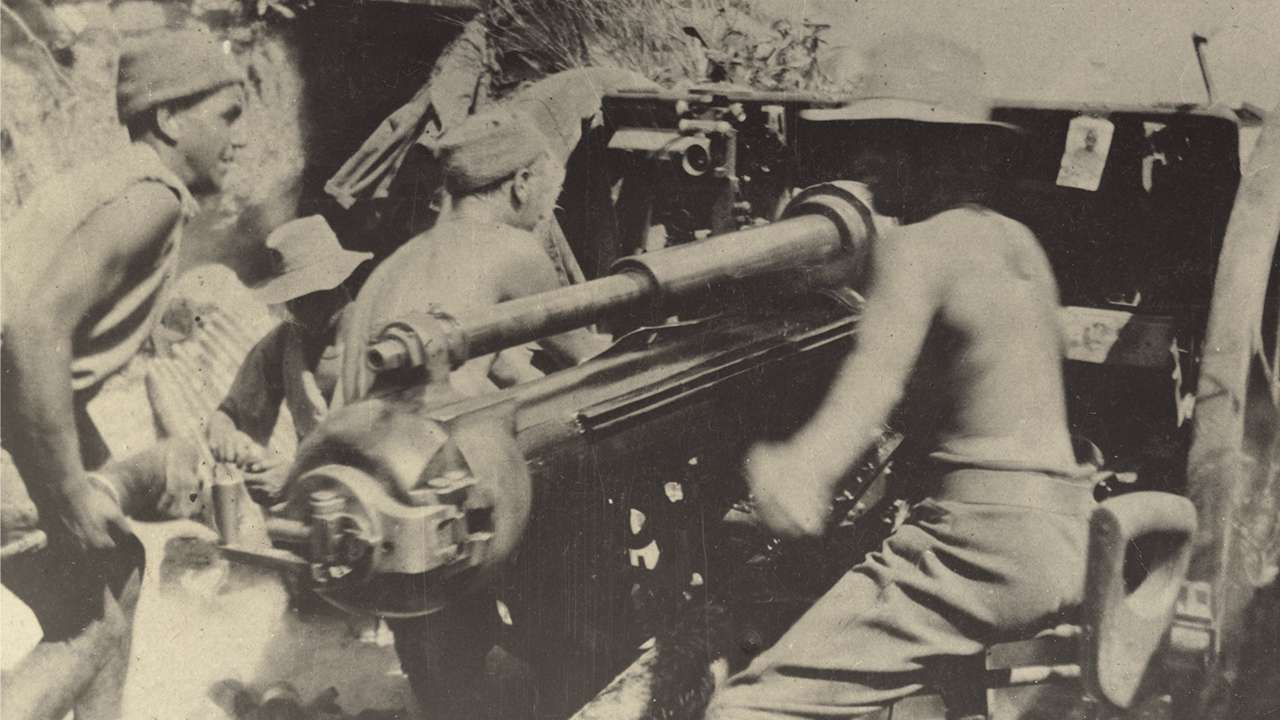 9th Battery of the 3rd Field Artillery Brigade with an 18‐pounder field gun in action
