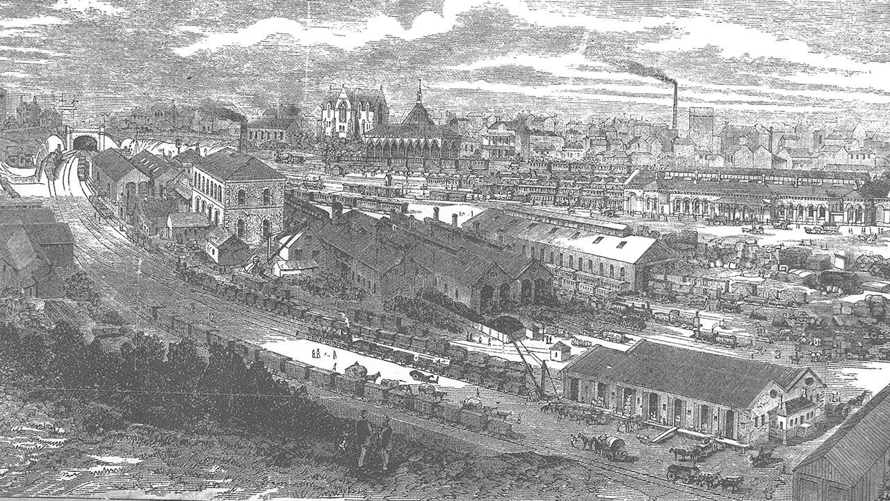 Redfern Railway station and rail yards where James McGowen worked before transferring to the new Eveleigh Railway Yards when they opened, 1870
