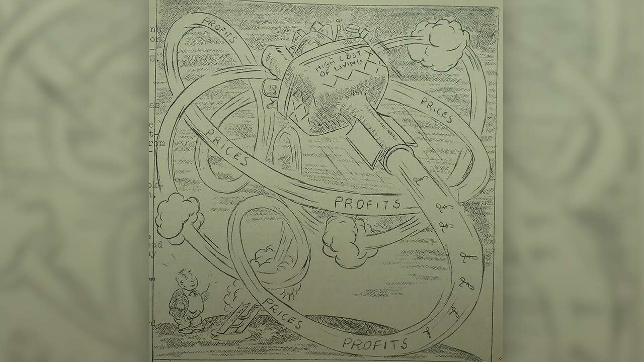 Cartoon decrying the rising cost of living in the Eveleigh News (No. 306), 13 November 1957