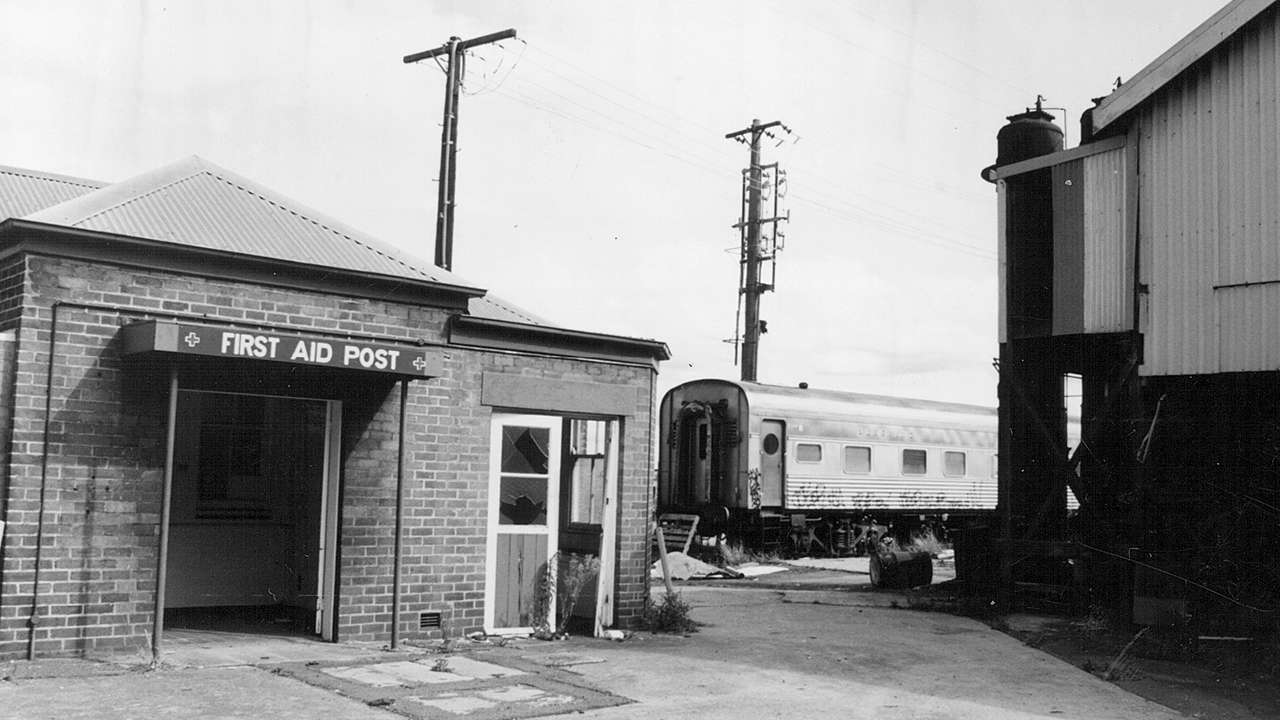The First Aid Station at Eveleigh Locomotive Shops which formed part of Red Square; where union meetings were often convened, undated