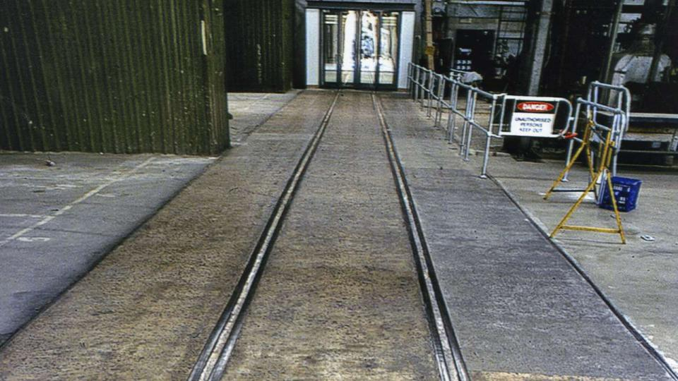 Retained segment of railway tracks in Bays 1 and 2, the tracks originally ran the full length of the workshop