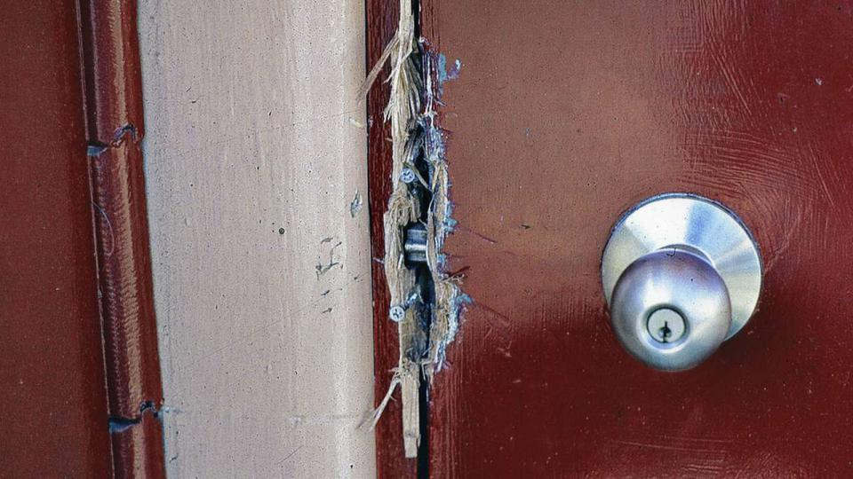 Broken door to Works Manager's Office, Tom Forgan moved in as a caretaker whilst lobbying to establish ATP, c. 1990