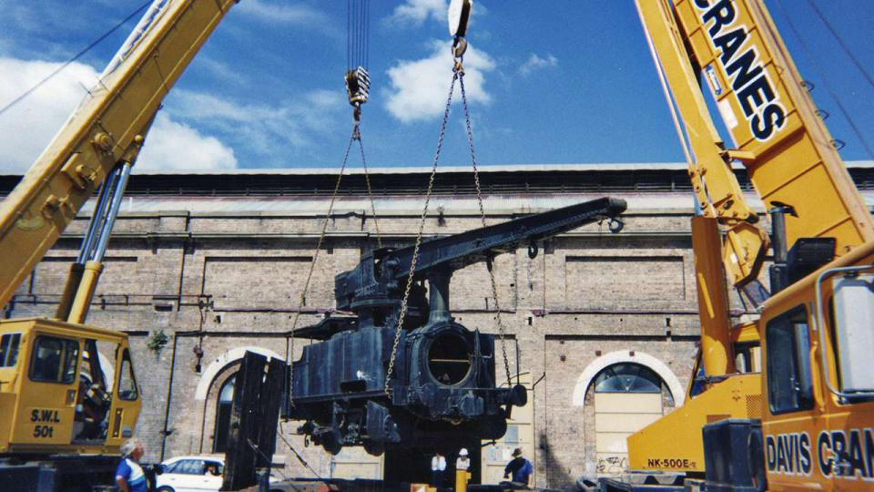 Tom Forgan recovered the steam crane train from a paddock in Chullora. The train is now back home at Eveleigh.