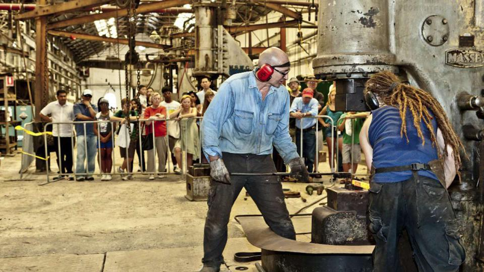 A demonstration by the blacksmiths of Wrought Artworks