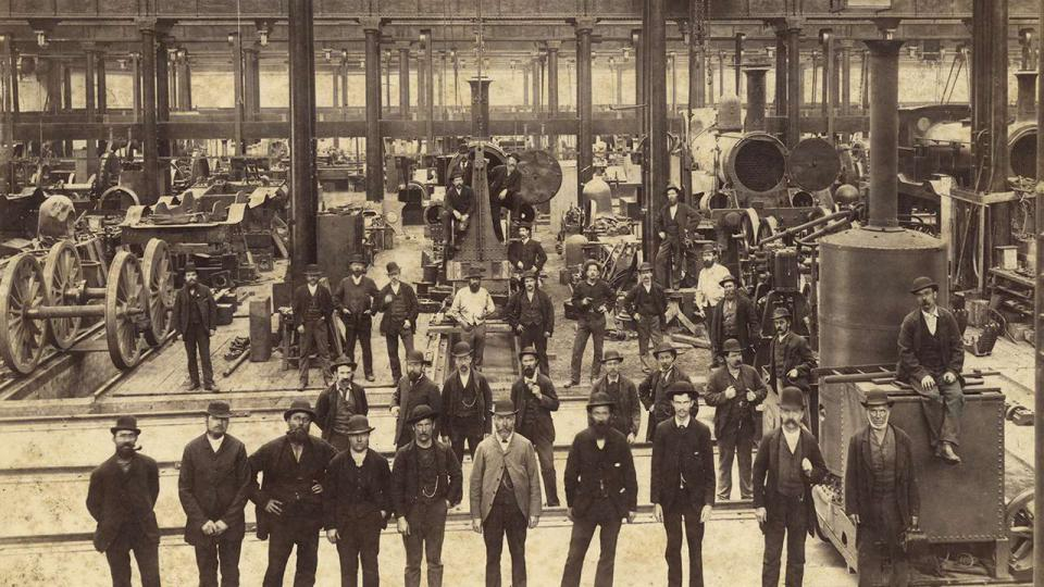 A view of the workshops taken in Bay 5 looking east, circa 1889