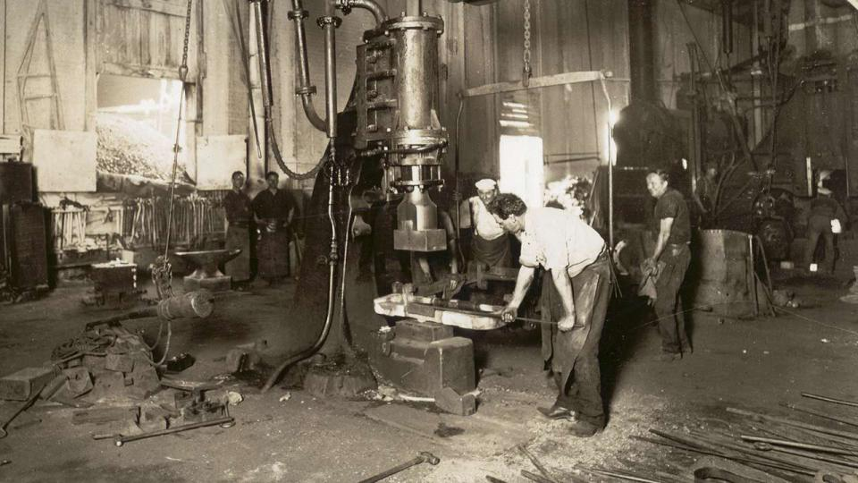 Metal forging on the steam hammer, Eveleigh Railway Workshops 1926