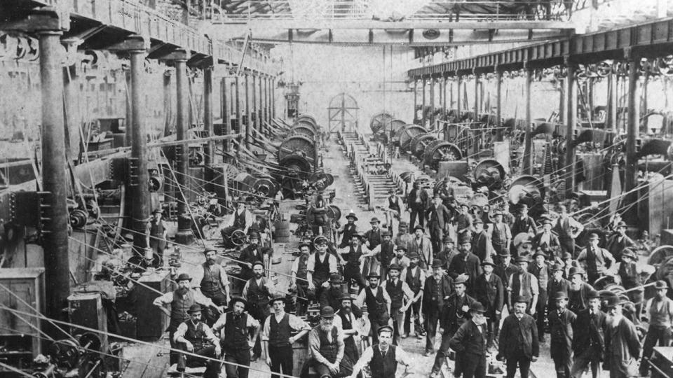 Machines in locomotive workshops, undated