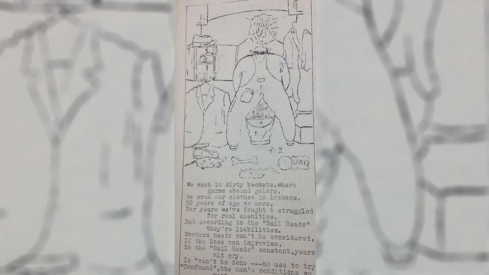 Cartoon of washing in buckets, Eveleigh News, 9 June 1954