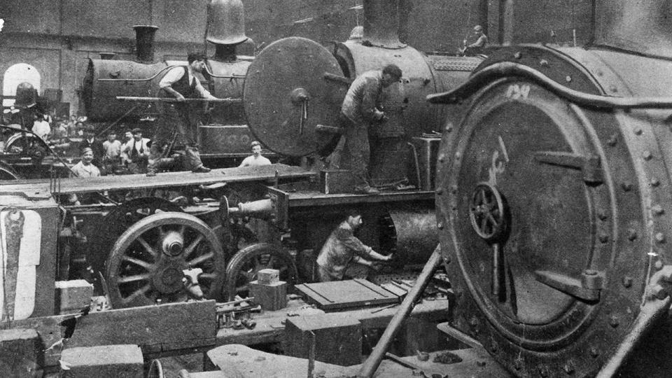 Locomotives under going an overhaul in workshops, undated