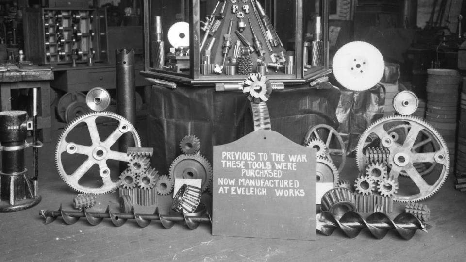 Display of tools made at Eveleigh Workshops, circa 1950. Prior to the war these tools were imported.