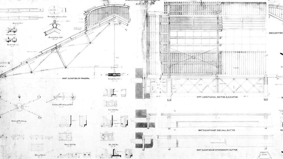 NSW Railways New Workshops Eveleigh, details of the roof, 1884
