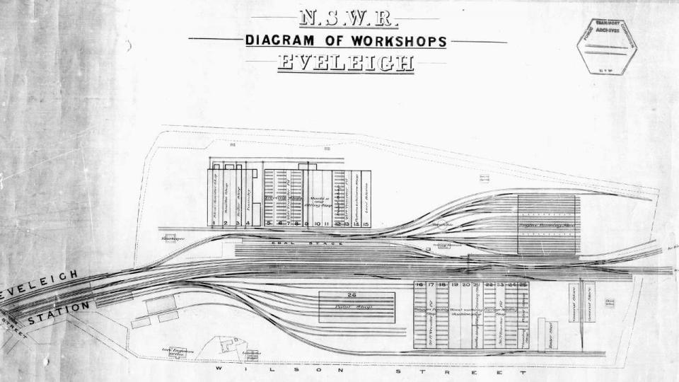 NSW Railways Diagram of Eveleigh Workshops, 1887