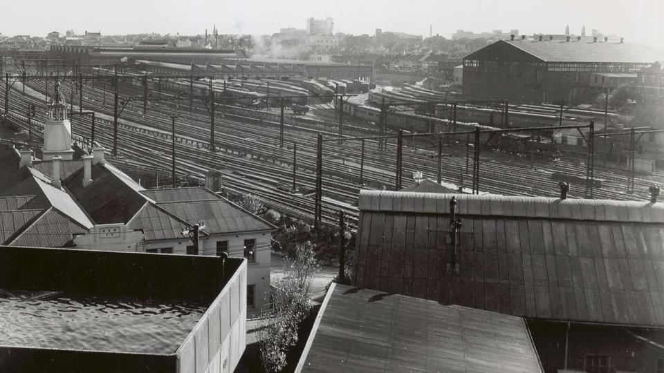 View towards Carriage Works from Cornwallis St, Works Managers Office and Water Tower in foreground, undated