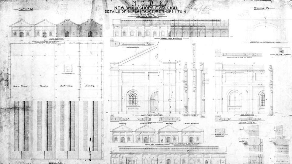 New Workshops Eveleigh, Details of Superstructure Shops 1 to 4 , 1884