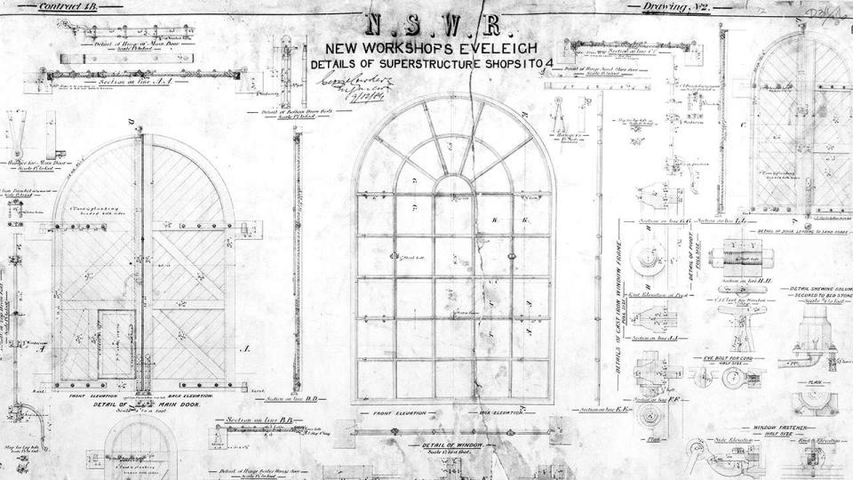 New Workshops Eveleigh, details of doors and window sashes of Bays 5 to 15 , 1885