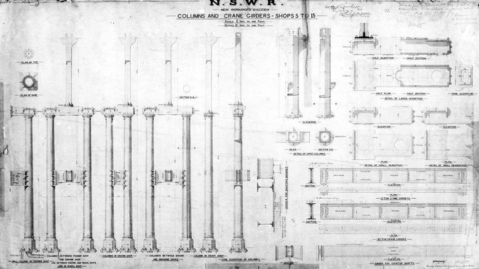 New Workshops Eveleigh, details of columns and crane girders of Bays 5 to 15 , 1885