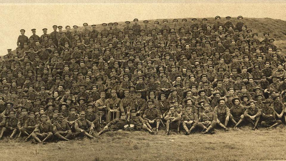 The First Railway Imperial Expeditionary Force gather at the Sydney Showground prior to their departure for France