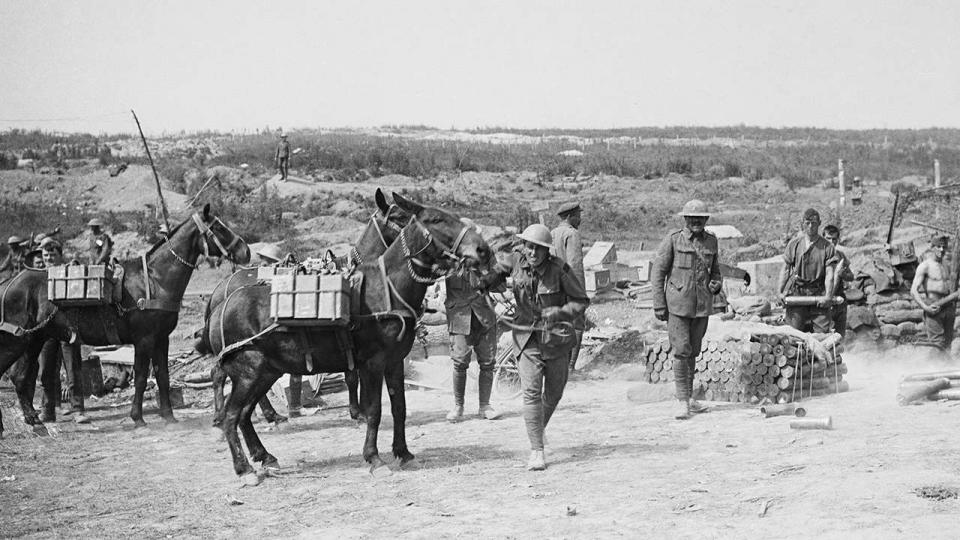 Three pack mules carrying water supplies to the crew of an Australian battery in France, 1916. Gunners for an 18‐pounder field gun, camouflaged on the right, handle artillery shells