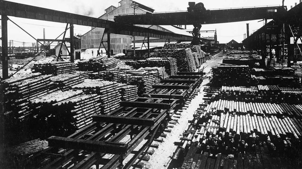 Munitions Steel in the yard at BHP Steelworks, Newcastle 1917