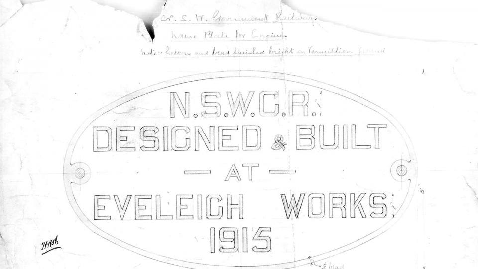 NSW Government Railways nameplate for Engineers, 1915