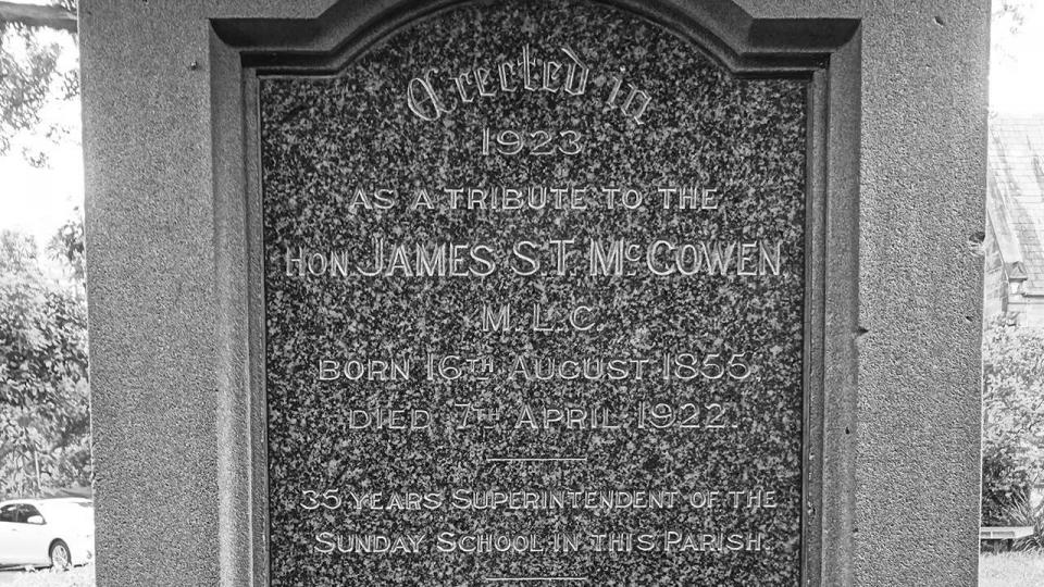 The cenotaph of James McGowen in the former St Paul's Church Redfern (now St Andrew's Greek Orthodox Church), 2015