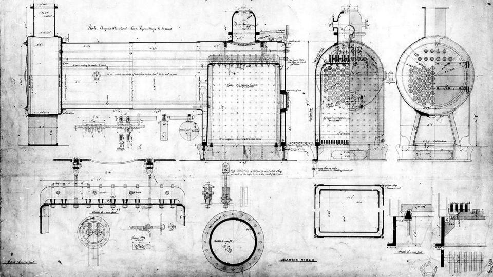Eveleigh loco workshops drawing: new stationary boiler for Eveleigh Drawing No 860, undated