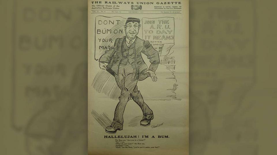 Union recruitment advertisement from the Railways Union Gazette 9 December 1924 (Vol. IV, No.6)