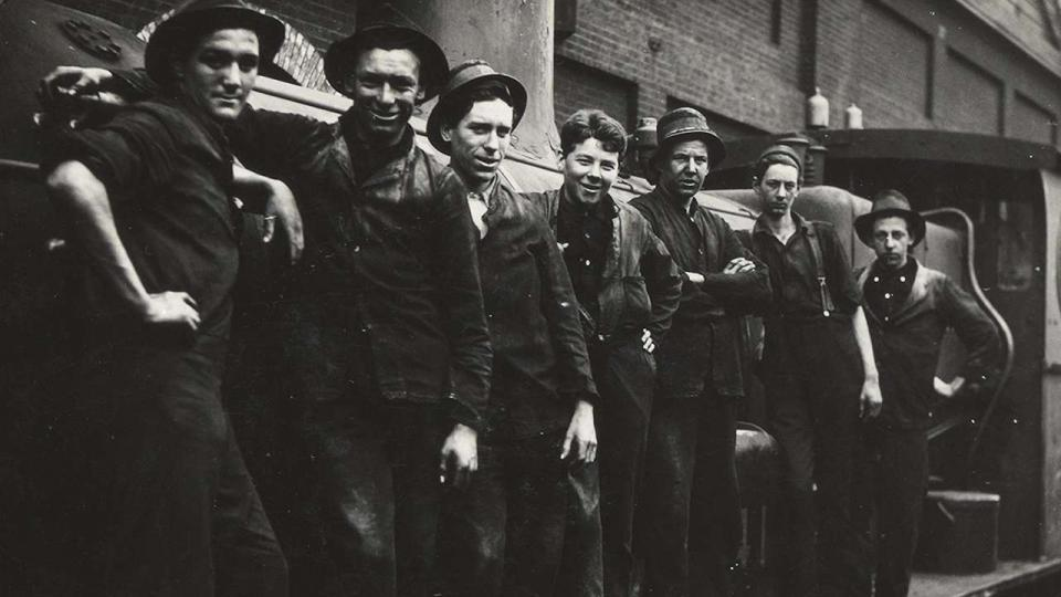 "Apprentices working at Eveleigh during the 1917 railway strike. The term ""loyalist"" was used to describe those who opposed the strike and remained 'loyal' to the government."