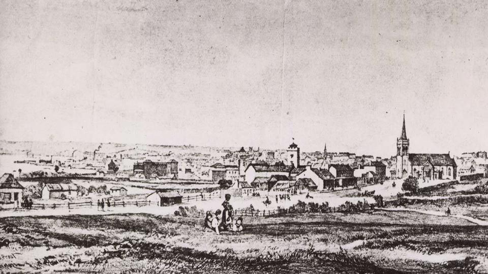 Government Paddock prior to the construction of the railway, 1850