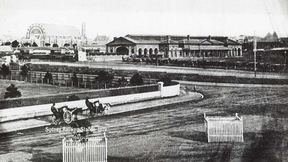 Redfern Station (Sydney) at the corner of Devonshire and Chalmers Street, 1879