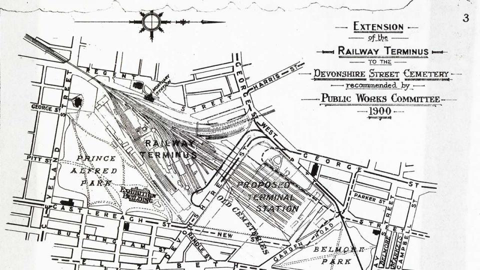Plan of the extension of the railway terminus to the Devonshire Street Cemetery, recommended by the Public Works Committee, 1900