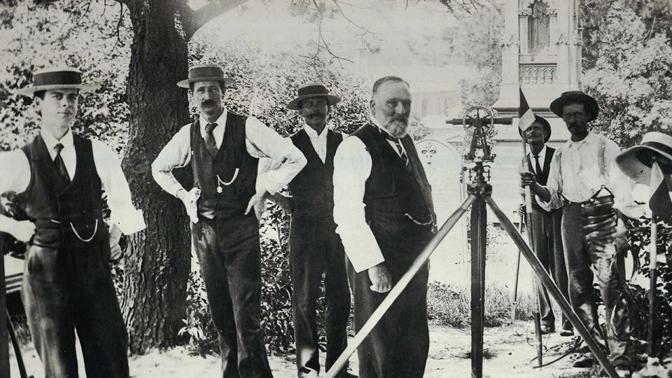 Surveyor George Melrose and his team surveying the Devonshire Cemetery, circa 1900