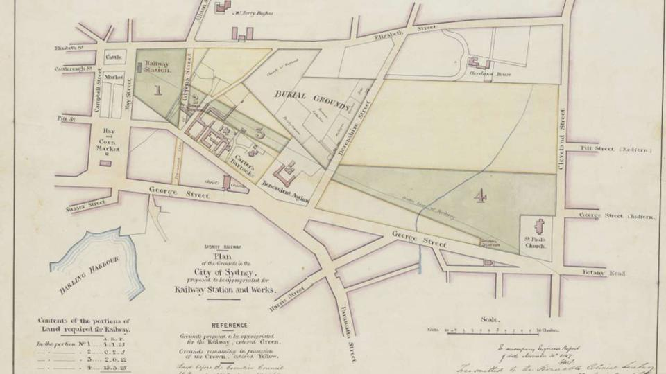 Plan of proposed Sydney Railway Station and Works, prior to the construction of the railway terminus at Cleveland Paddocks. The map shows those parts of the paddock proposed for the Sydney Railway in green, 1849