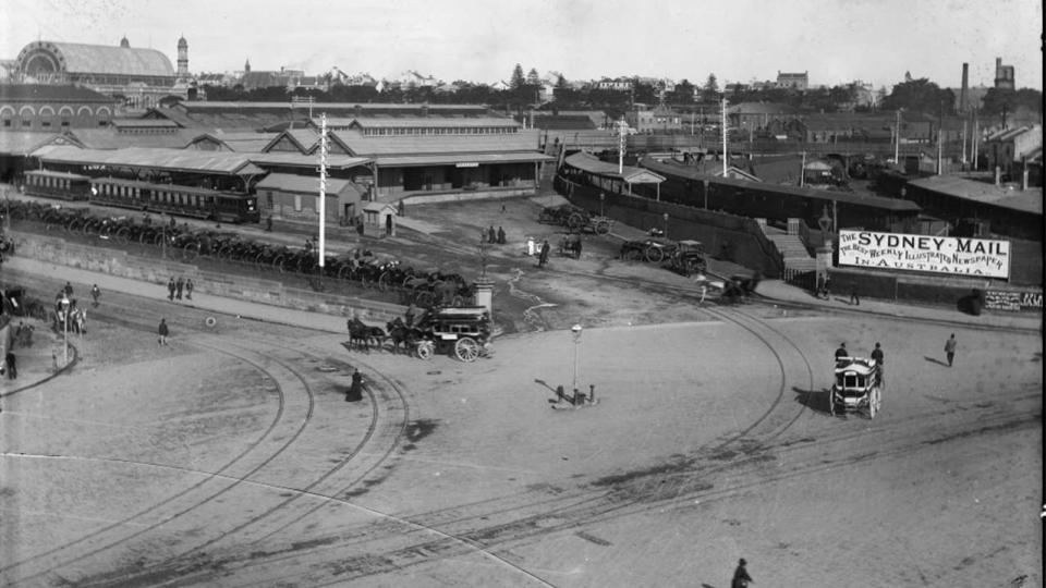 Redfern Railway Station, published by Kerry & Co., it shows clearly the number of buildings that have now obscured the 1874 station, 1884