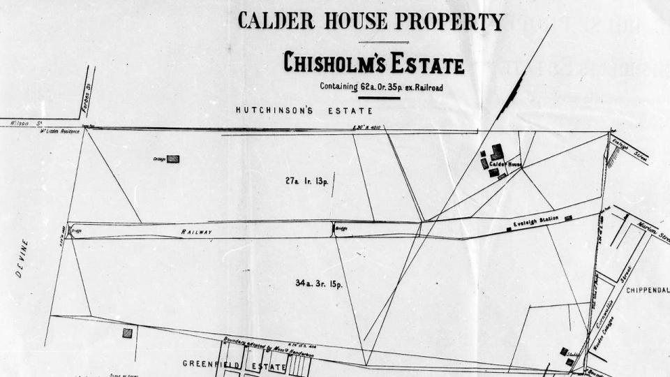 Map showing location of the original Eveleigh Station and the railway line bisecting Chisholm's Estate
