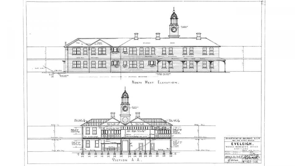 Plan of the Works Managers Office, north west elevation, 23 March 1944