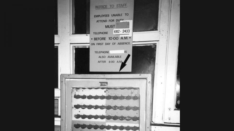 A Token Board in the Large Erecting Shop Eveleigh 1997. The boards existed throughout the workshops and timekeepers kept records from them. The token was made of aluminium 35mm in diameter.