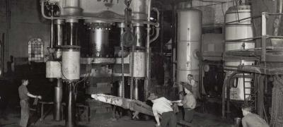 Forging metal on the Davy Press, undated
