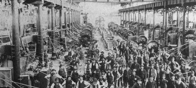 Machines in locomotive workshops, undated
