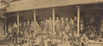 School boys and teachers outside Calder House Boys' school, Redfern, Sydney, 1876