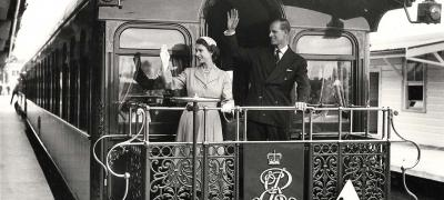 Queen Elizabeth II and Prince Phillip on board the royal train, 1954